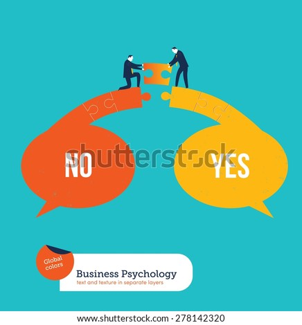 Businessmen finding a solution between yes and no. Vector illustration Eps10 file. Global colors. Text and Texture in separate layers. - stock vector