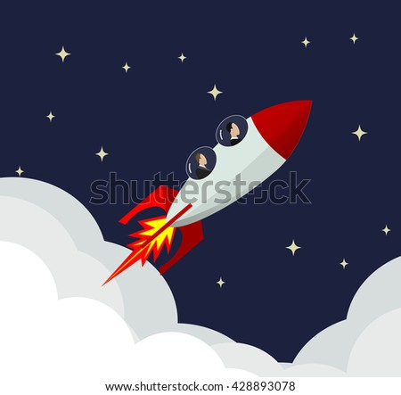 businessmen fly into the rocket through the sky. business success, start up concept
