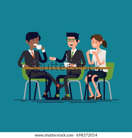 Businessmen having coffee break vector concept illustration in flat design. Business people or colleagues sitting together and drinking coffee or tea having nice chat. Informal table conversation