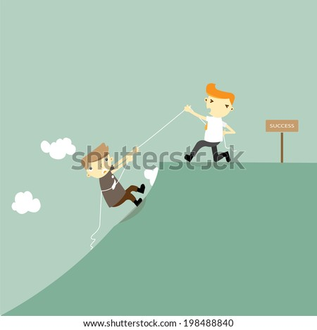 Businessmen help friends on the cliff to the success.