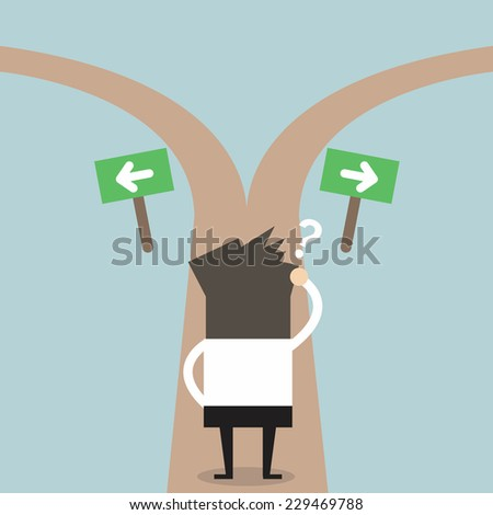 Businessmen hesitate to choose path. decision concept. - stock vector