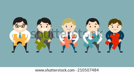 Businessmen holding puzzles. The concept of connection. Vector illustration. Flat design - stock vector