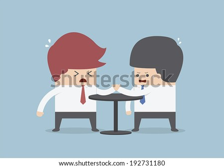 Businessmen in arm wrestling, Business competition concept, VECTOR, EPS10 - stock vector