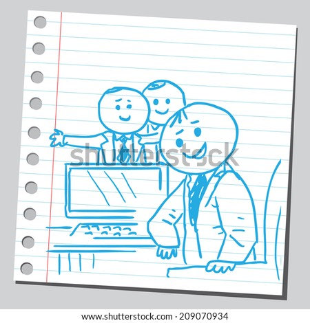 Businessmen in office - stock vector