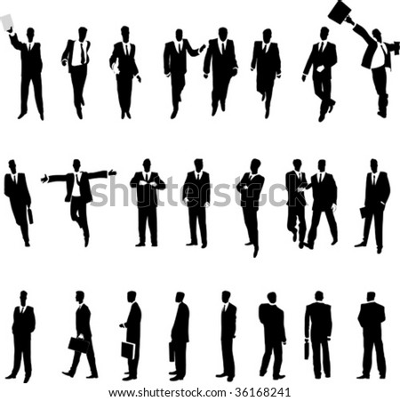 Businessmen in various situations. Vector illustration.