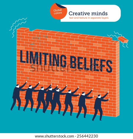 Businessmen knocking down a wall with limiting beliefs. Vector illustration Eps10 file. Global colors. Text and Texture in separate layers. - stock vector