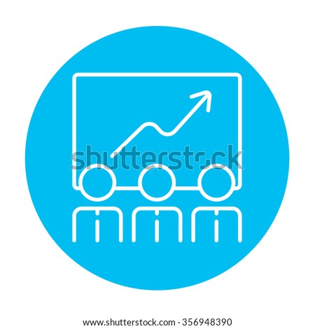 Businessmen looking at growing graph drawing on a board line icon for web, mobile and infographics. Vector white icon on the light blue circle isolated on white background. - stock vector