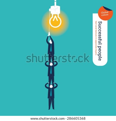 Businessmen making a human pyramid to turn on a lamp. Vector illustration Eps10 file. Global colors&layers. - stock vector