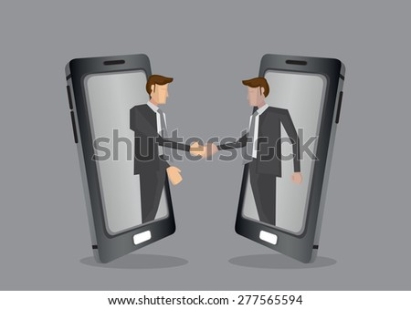 Businessmen of different ethnicity reaching out from mobile phone for handshake. Creative vector illustration for business and technology concept isolated on grey background. - stock vector