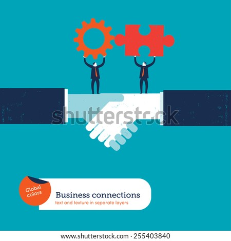 Businessmen on a handshake with puzzle piece and gear. Vector illustration Eps10 file. Global colors. Text and Texture in separate layers. - stock vector