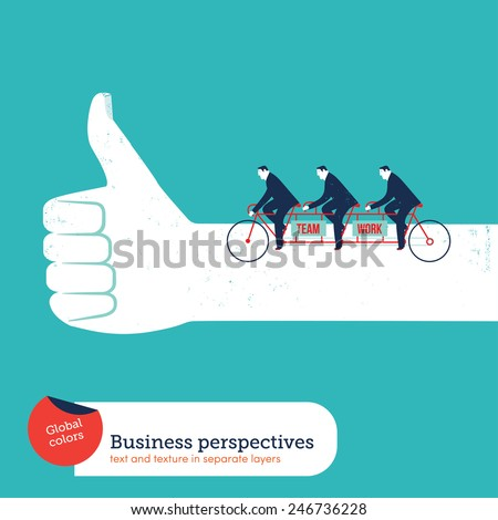 Businessmen on a tandem bike in a like hand. Vector illustration Eps10 file. Global colors. Text and Texture in separate layers. - stock vector