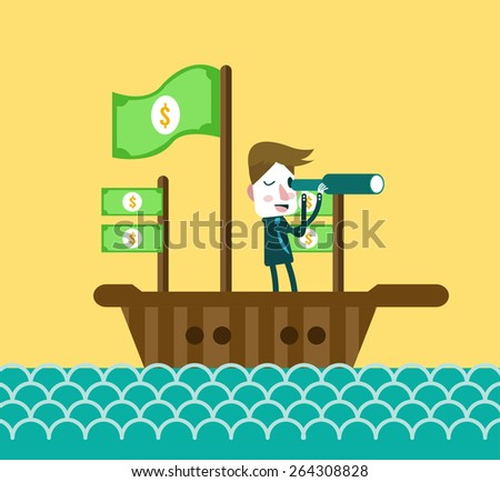 Businessmen on boat watching through telescope. flat design element. vector illustration - stock vector