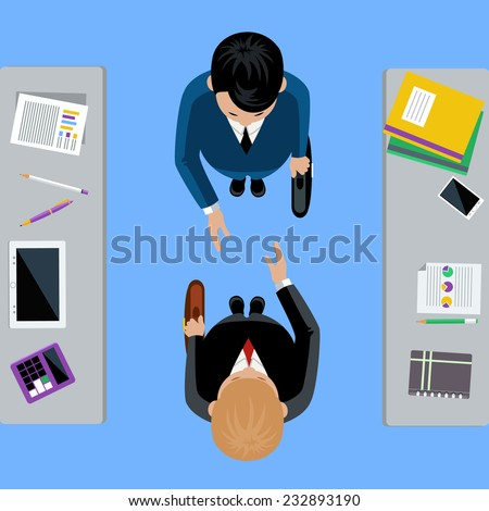 Businessmen on business meeting. Two man do handshake in flat design - stock vector