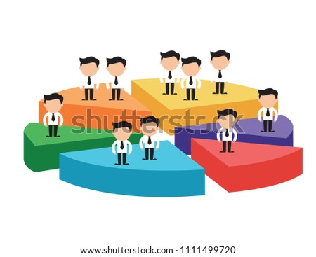 Businessmen On Difference Pieces Pie Chartconcept Stock Vector