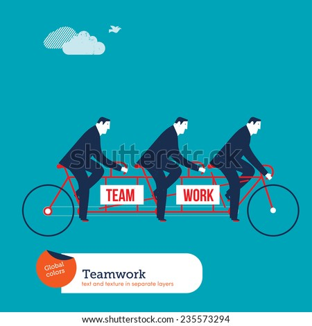 Businessmen on tandem bike with team work word. Vector illustration Eps10 file. Global colors. Text and Texture in separate layers. - stock vector