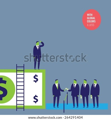 Businessmen paying to see from a dollar. Vector illustration Eps10 file. Global colors&layers. - stock vector