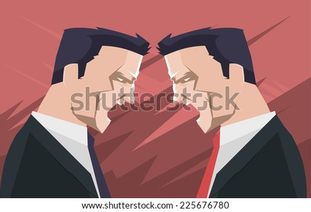 businessmen people shouting and screaming, with two men arguing at business meeting vector illustration. - stock vector