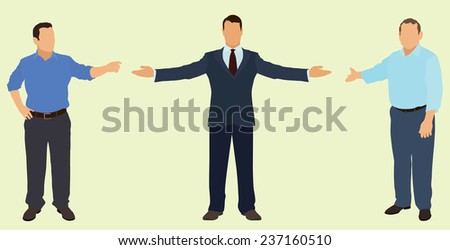 Businessmen Pointing or Motioning Toward Something - stock vector