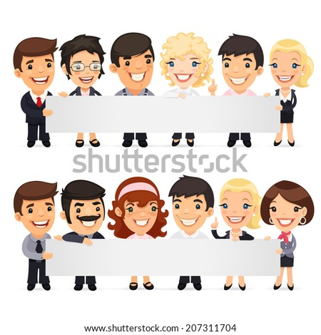 Businessmen Presenting Empty Horizontal Banner. In the EPS file each element is grouped separately. - stock vector
