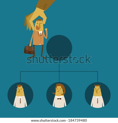 Businessmen promotion to higher position - stock vector
