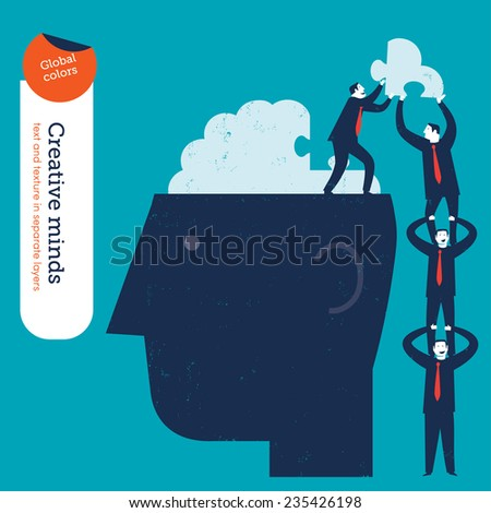 Businessmen pyramid putting the missing piece of a brain puzzle. Vector illustration Eps10 file. Global colors. Text and Texture in separate layers. - stock vector
