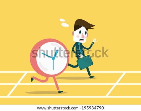 Businessmen racing with clock. Business workforce Concept. flat design element. Vector - stock vector