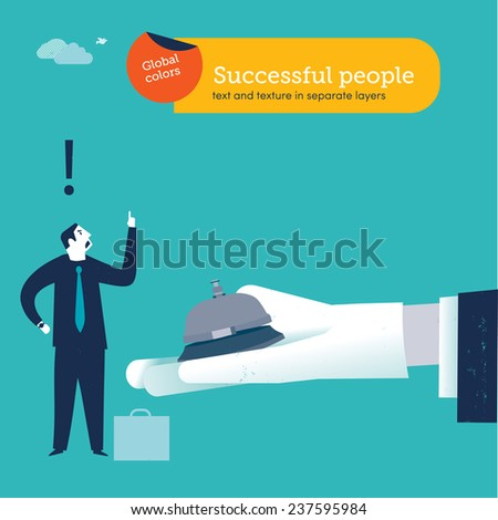 Businessmen ringing a service bell on hand with white glove. Vector illustration Eps10 file. Global colors. Text and Texture in separate layers. - stock vector
