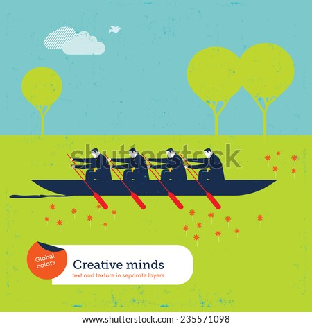 Businessmen rowers with boat on the earth. Vector illustration Eps10 file. Global colors. Text and Texture in separate layers. - stock vector
