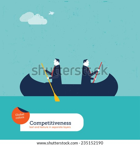 Businessmen rowing in opposite directions. Vector illustration Eps10 file. Global colors. Text and Texture in separate layers. - stock vector