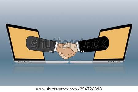 Businessmen shake hands from two computer, Internet business, ecommerce concept, vector