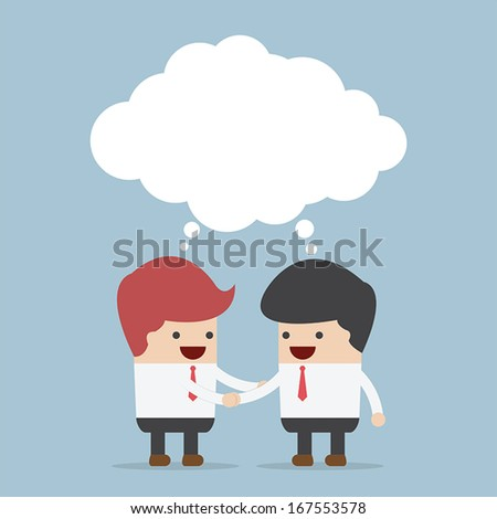 Businessmen shaking hands and blank speech, VECTOR, EPS10 - stock vector