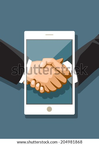 Businessmen shaking hands in a tablet PC. Social networks