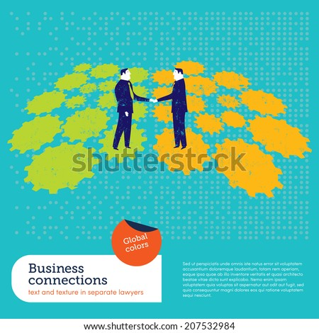 Businessmen shaking hands on a gear background. Vector illustration Eps10 file. Global colors. Text and Texture in separate layers.  - stock vector
