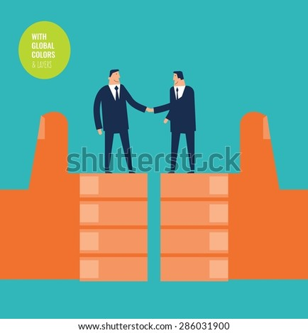 Businessmen shaking hands on two i like hands. Vector illustration Eps10 file. Global colors&layers. - stock vector