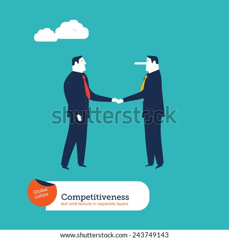 Businessmen shaking hands one with a large nose. Vector illustration Eps10 file. Global colors. Text and Texture in separate layers.