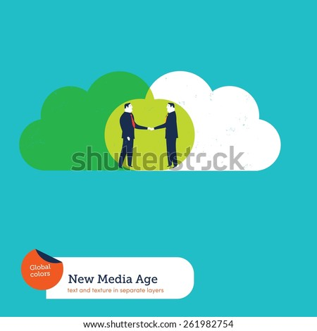 Businessmen sharing clouds and shaking hands. Vector illustration Eps10 file. Global colors. Text and Texture in separate layers. - stock vector