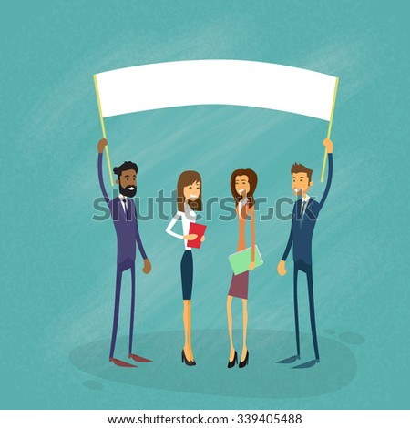 Businessmen Show White Board, Signboard, Empty Copy Space, Business People Cartoon  Hold Placard Sign Board Blank Flat Vector Illustration - stock vector