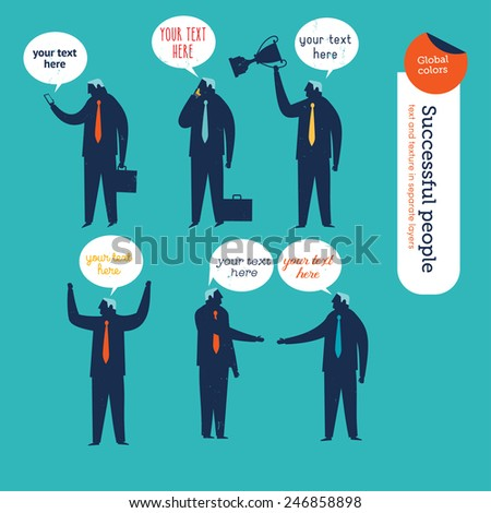 Businessmen silhouettes. Vector illustration Eps10 file. Global colors. Text and Texture in separate layers. - stock vector