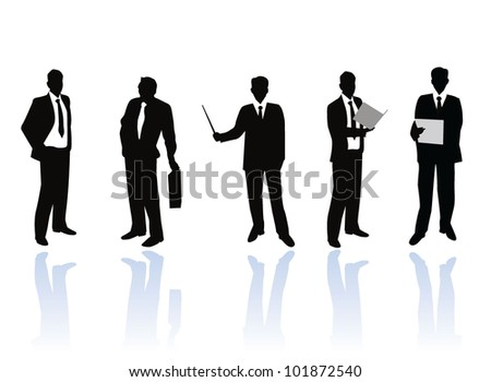 businessmen silhouettes with banner - stock vector