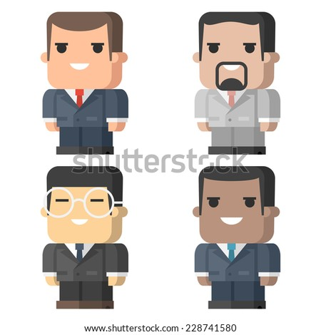 Businessmen square different races - stock vector