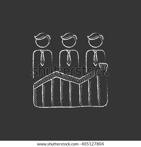 Businessmen standing on profit graph. Drawn in chalk icon. - stock vector