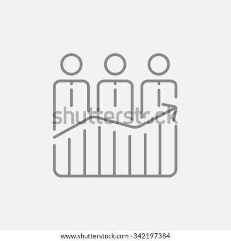 Businessmen standing on profit graph line icon for web, mobile and infographics. Vector dark grey icon isolated on light grey background. - stock vector