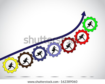 businessmen team work concept for achiving progress with arrow colorful gears and bright white background - concept design vector illustration art - stock vector