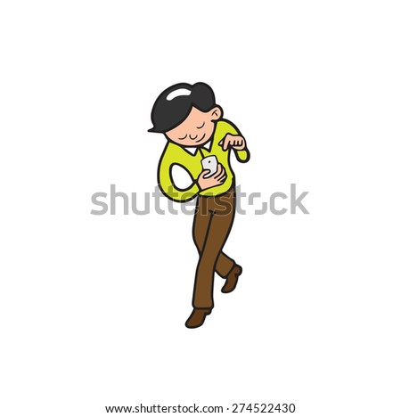 Businessmen text on mobile phone - stock vector