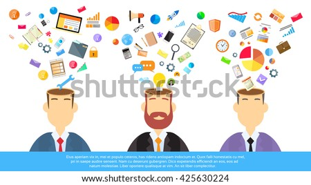 Businessmen Thinking Business Ideas Inspiration, Open Head Creative Brain With Icon Concept Brainstorming Process Flat Vector Illustration - stock vector