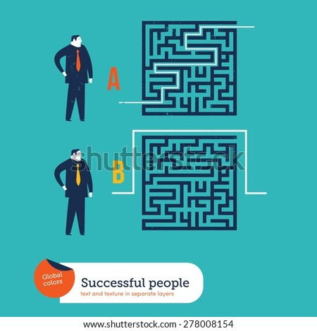 Businessmen using different ways to go out of a maze. Vector illustration Eps10 file. Global colors. Text and Texture in separate layers. - stock vector