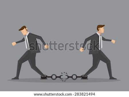 Businessmen walking in opposite direction and breaking the chain link between them. Conceptual vector illustration for bad business relationship or splitting partnership isolated on grey background. - stock vector