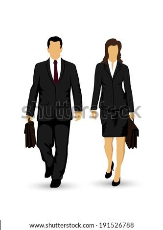 businessmen walking on white background - stock vector