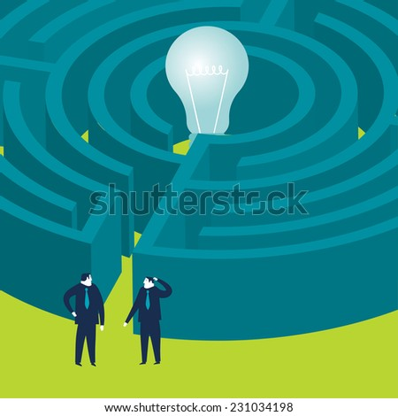Businessmen wanting to enter a bulb maze - stock vector