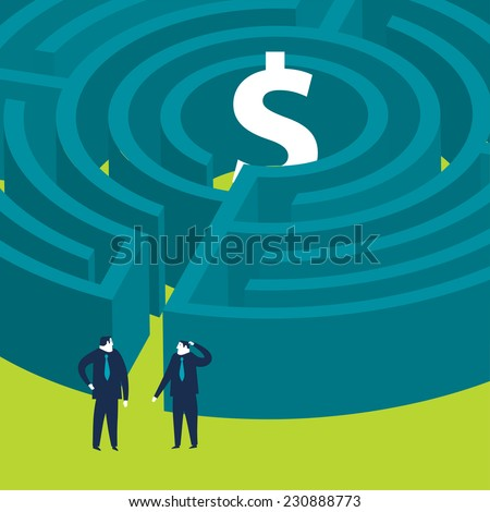 Businessmen wanting to enter a money maze